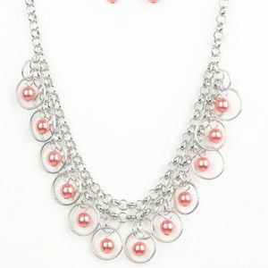 Silver with orange pearl necklace with earrings